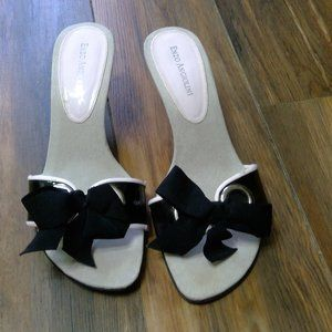 Adorable black and pink heeled sandals